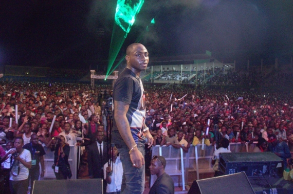 Davido with the crowd at Kigali