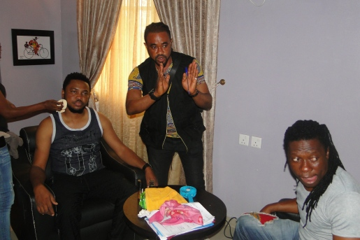 L-R...Kevin, Director Ifeanyi Okey and a Crew Member